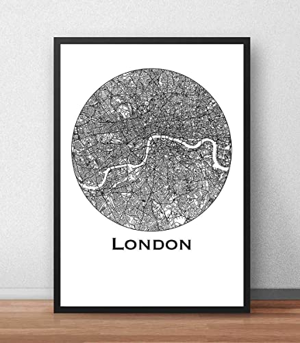 Cartel Londres Inglaterra Minimalista Mapa - City Map ...