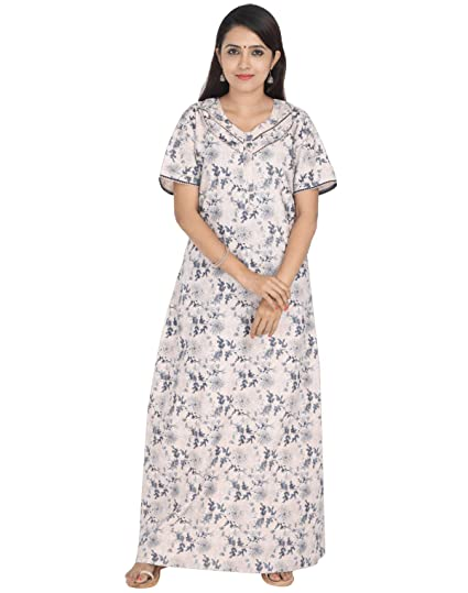 5bc9164b9d40 Nighty House Womens Cotton Full Length Nightgown with Double Stitches and  overlock (L