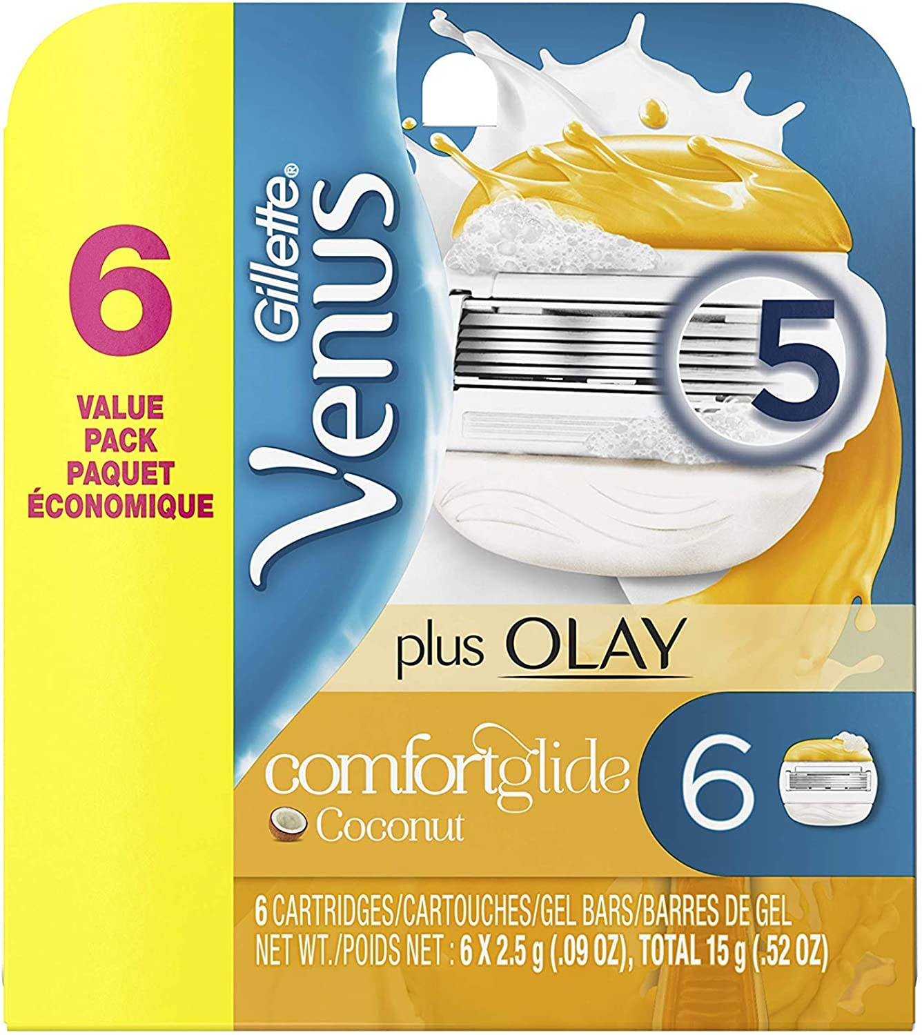 ComfortGlide Plus Olay Coconut Women's Razor Blades - 6 Refills (Packaging May Vary