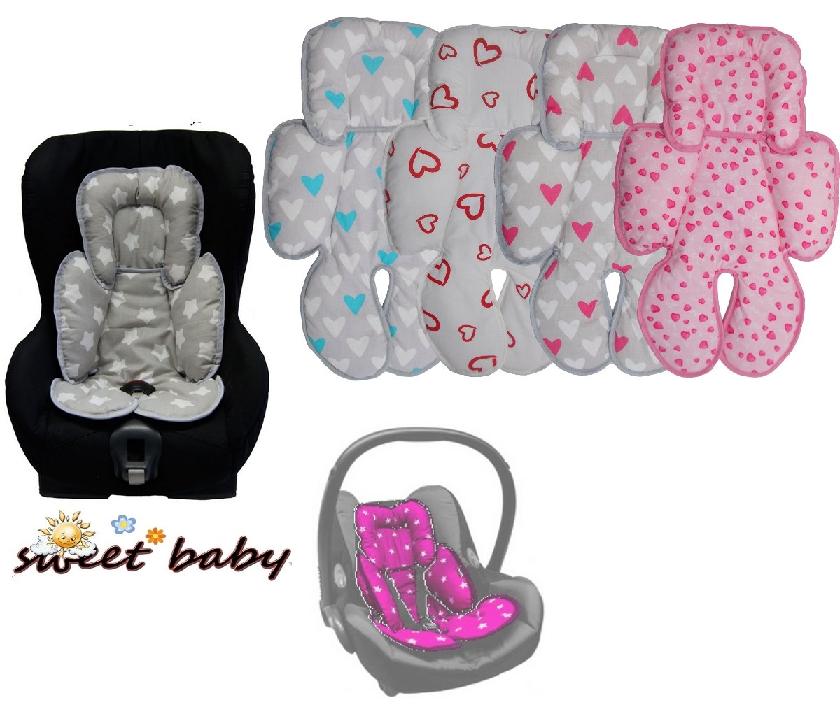 Sweet Baby * * Sleepy Car Seat Insert (Antial Lergikum Hearts * * Suitable for Baby Size 0/0+ and 1* * perfect for Maxi Cosi/Cybex etc. as well as Pram, Cot, etc.