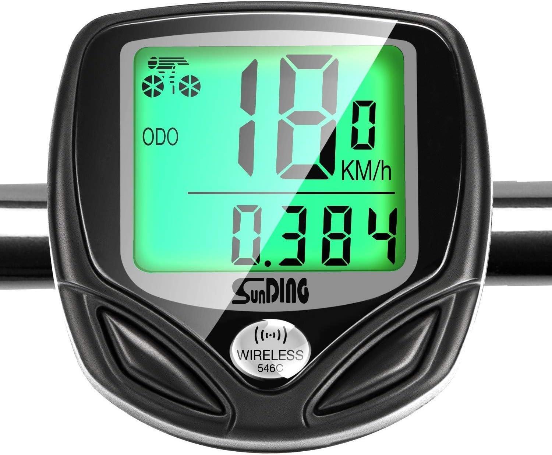 GiBot Velocímetro para Bicicleta,Ciclocomputador Bicicleta,Inalámbrico Bicicleta Cuentakilometros,Ciclismo con 16 Funciones,inalámbrica,impermeable y Pantalla de luz de fondo LCD,Negro