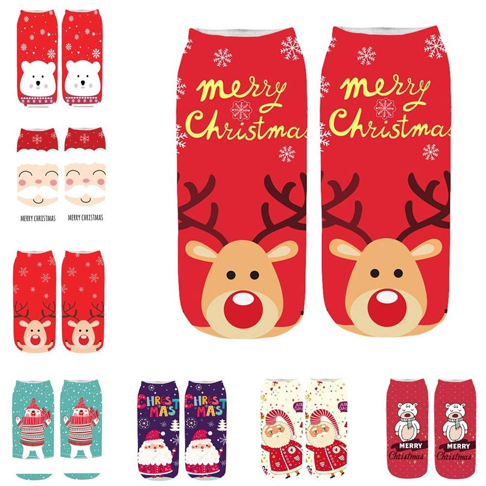 Amazon.com: Pausseo 1 Pair of 3D Unisex Print Merry Christmas Fruit Cartoon Animal Boys Girls Pattern Cute Low Cut Ankle Socks Lady Gentleman Medium Sports ...