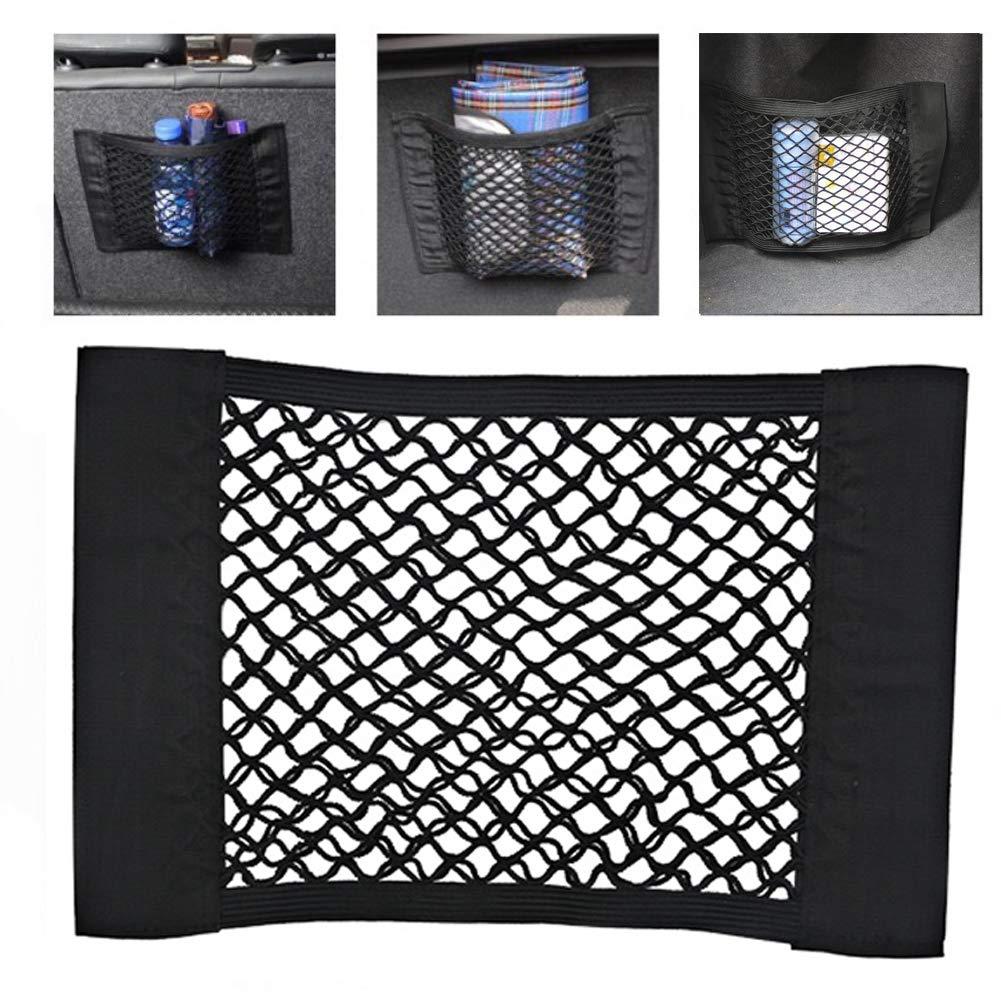 Black Qiuyan Universal Car Truck Adhesive Cargo Nets Magic Sticker Net Mesh Organizer Back Rear Seat Elastic String Storage Container Bag