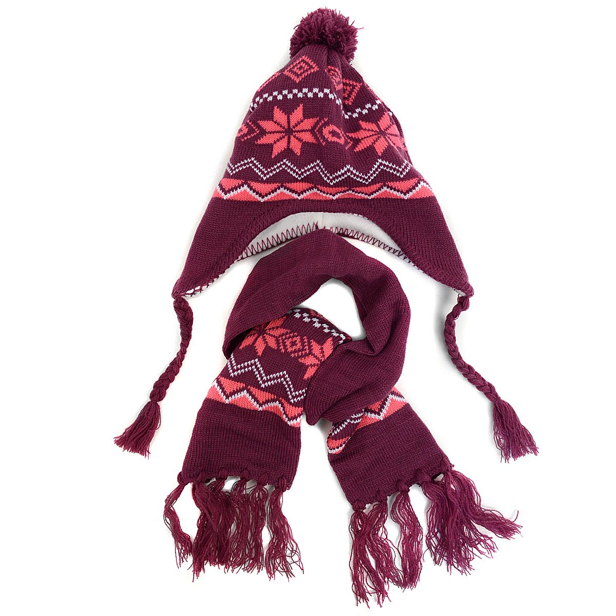 Girls Winter Knit Hat /& Scarf Two Piece Set ~ Lined Hat with Ear Flaps Pom Pom /& Scarf with Tassels ~ Snowflake Design in Purple /& Pink