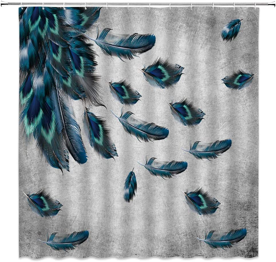 Xnichohe Peacock Feather Shower Curtain,Watercolor Teal Blue Turquoise Floral Gray Retro Background Tribe Polyester Cloth Fabric Bathroom Curtains Decor Set with 12 pcs Hooks,70 x70 Inches