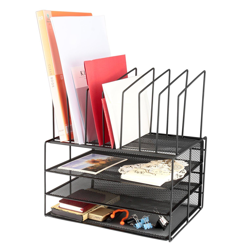 Samstar Mesh Desk File Organizer Letter Tray Holder, Desktop File Organizer with 3 Paper Trays and 7 Vertical Upright Section, Black
