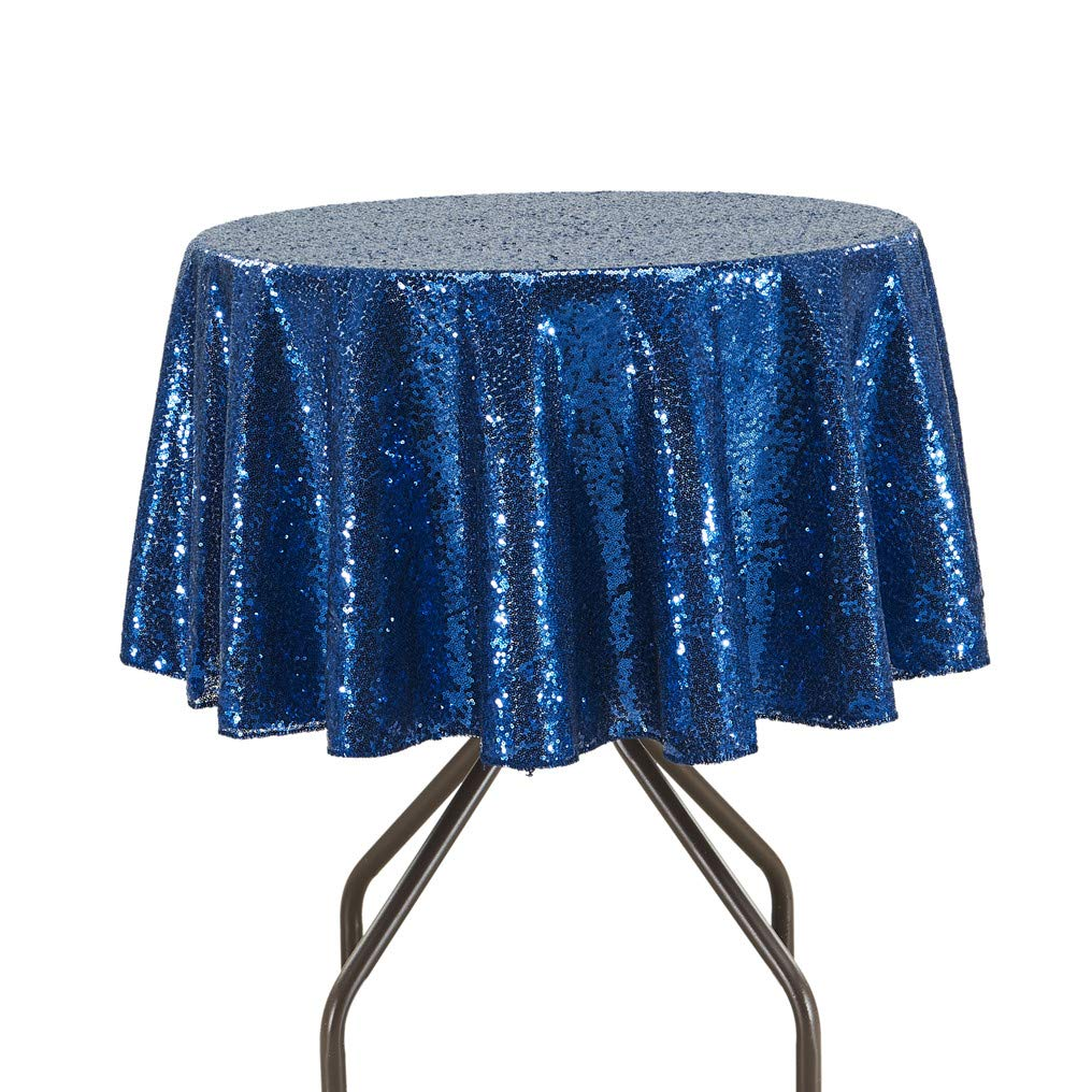Navy bluee 48  Round PartyDelight Sequin Tablecloth Round 132  Tablecloth, pink gold