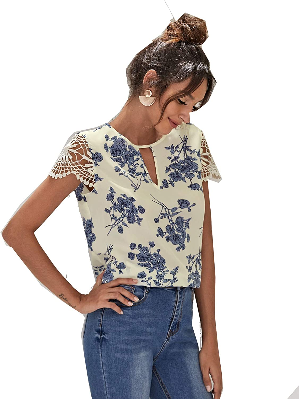 Floerns Women's Short Sleeve Lace Keyhole Summer Chiffon Blouse Top