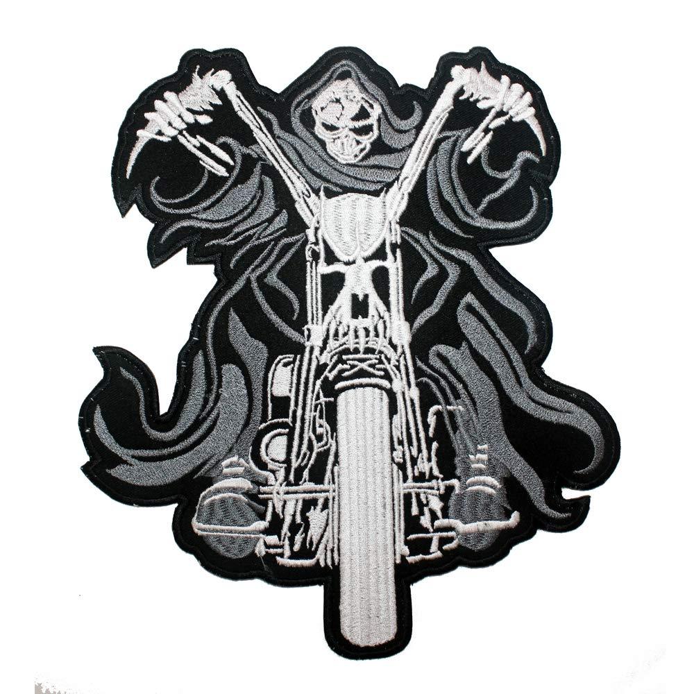 Toppa Scheletro Motociclista Patch Termoadesiva Bianco Nero Abbigliamento Moto