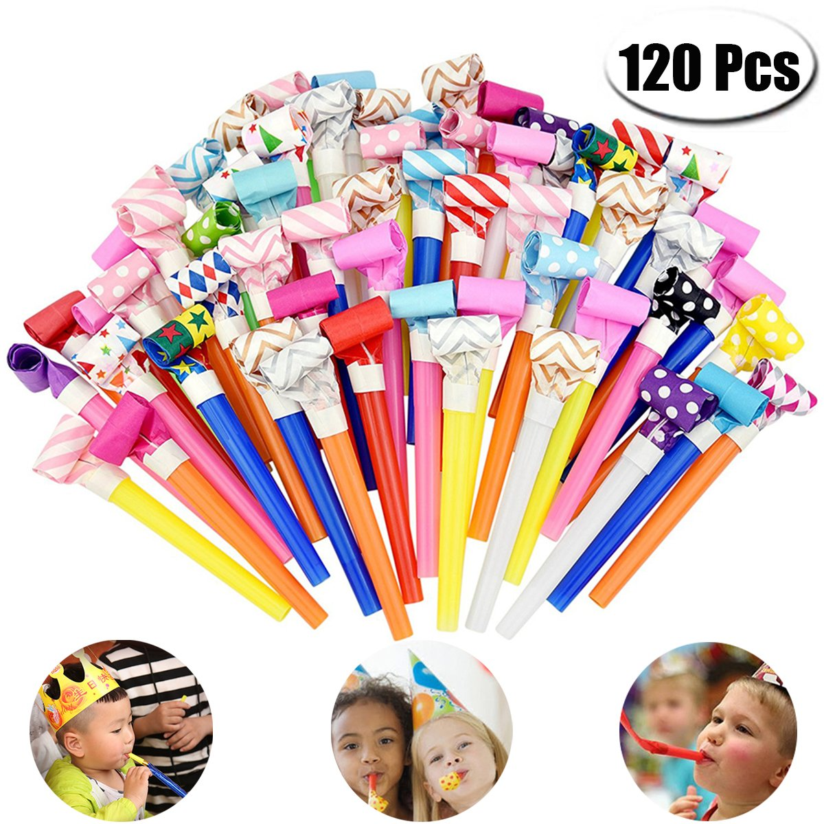 PartyYeah 120 Pcs 4.3Inch Funny Party Blowouts Blowers-Noisemakers Whistles for New Year Party Birthday, Random Colors Multicolored Funny Party Supplies