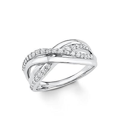 509c70758661 S.Oliver Damen Ring Jewel 925 Sterling Silber rhodiniert Zirkonia weiß   Amazon.de  Schmuck