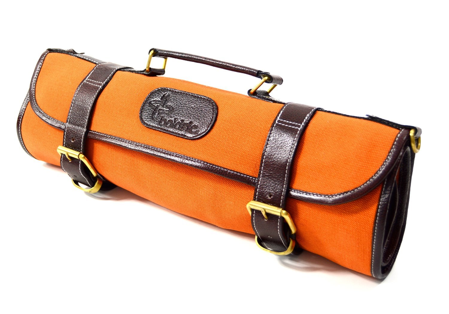 Boldric 9 Pocket Knife Bag, Roll Up Canvas with Handle and Shoulder Strap, Top Quality Portable Chef Knives Case Storage Bag, 18-inch (Orange)