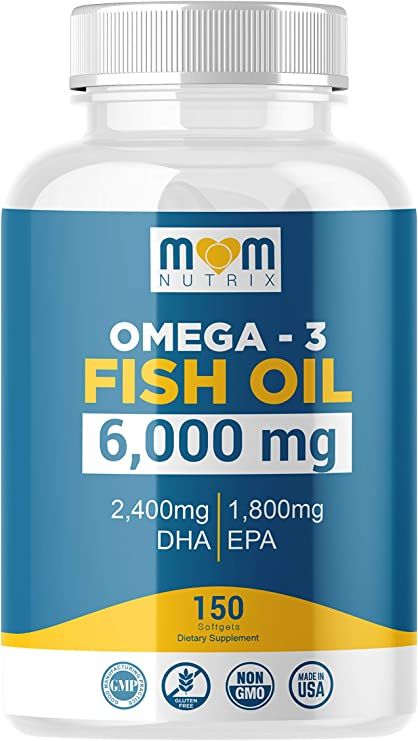 Omega 3 Fish Oil 6000 Mg with Maximum EPA DHA - Supports Brain, Liver, Heart & Immunity - Made in The USA - 150 Softgels