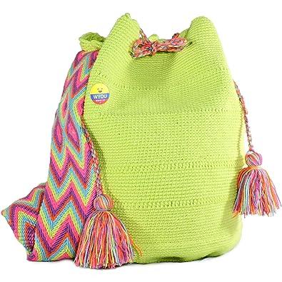 3bfe1a9bd Amazon.com: Wayuu Mochila Bags Crochet Purse Woven Hand Made 100% Cotton  Summer Bag Authentic Colombian boho Bags Colorful Crossbody travel: Shoes