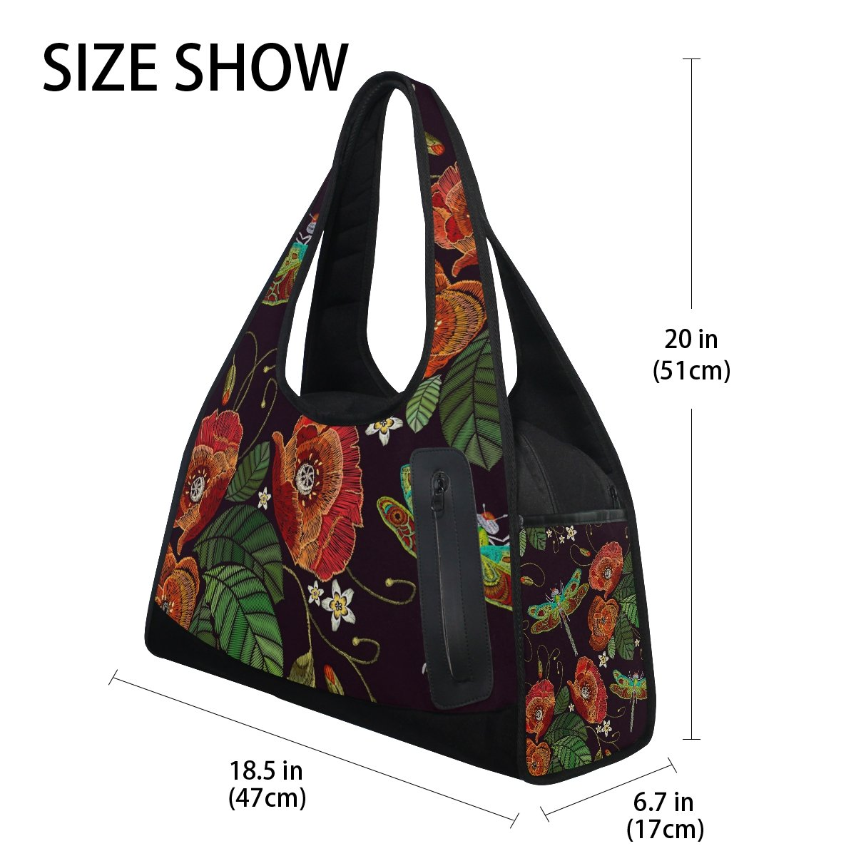 AHOMY Sports Gym Bag Poppy Flowers Dragonfly Embroidery Duffel Bag Travel Shoulder Bag