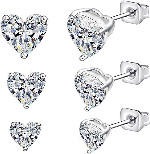 White Gold Plated Stainless Steel CZ Stud Earrings Cubic Zirconia Men Women Stud