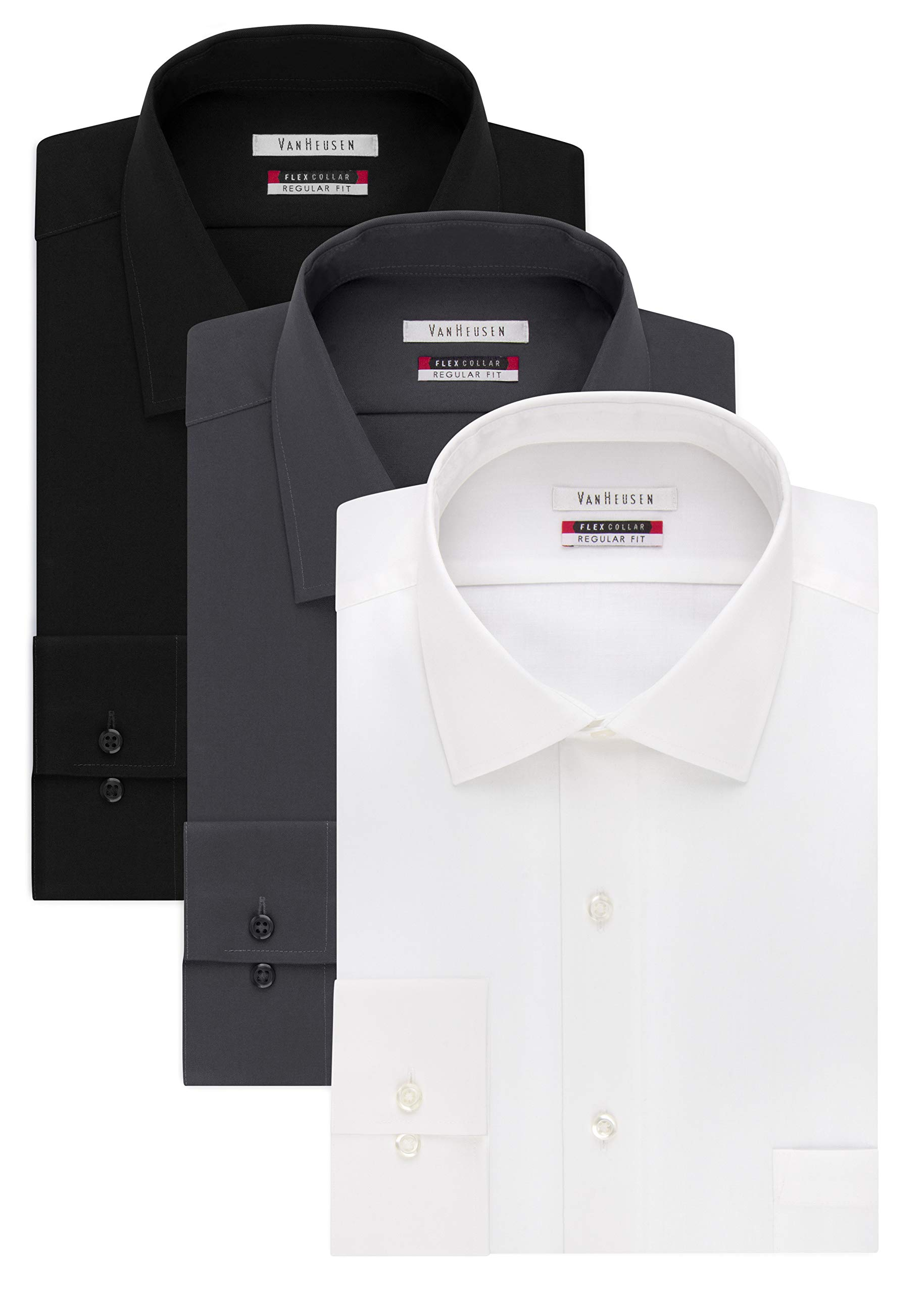 Van Heusen Men's Flex Collar Regular Fit Solid Spread Collar Dress Shirt, White/Black/Charcoal, 18.5'' Neck 34''-35'' Sleeve