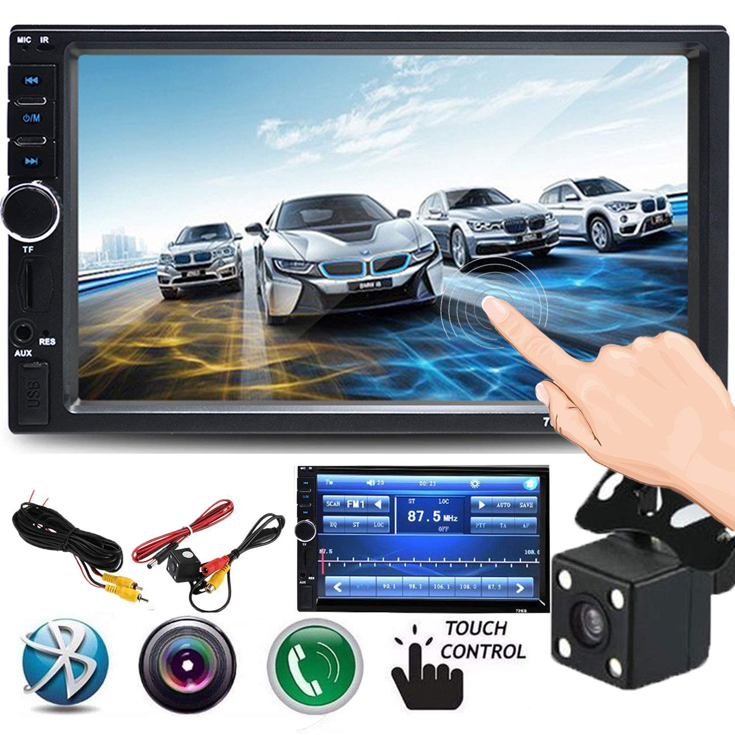 Cavogin Double Din Car Stereo, 7-Inch Touch Screen Car Radio MP3/MP5/FM Player Supports Bluetooth/USB/TF with Remote Control