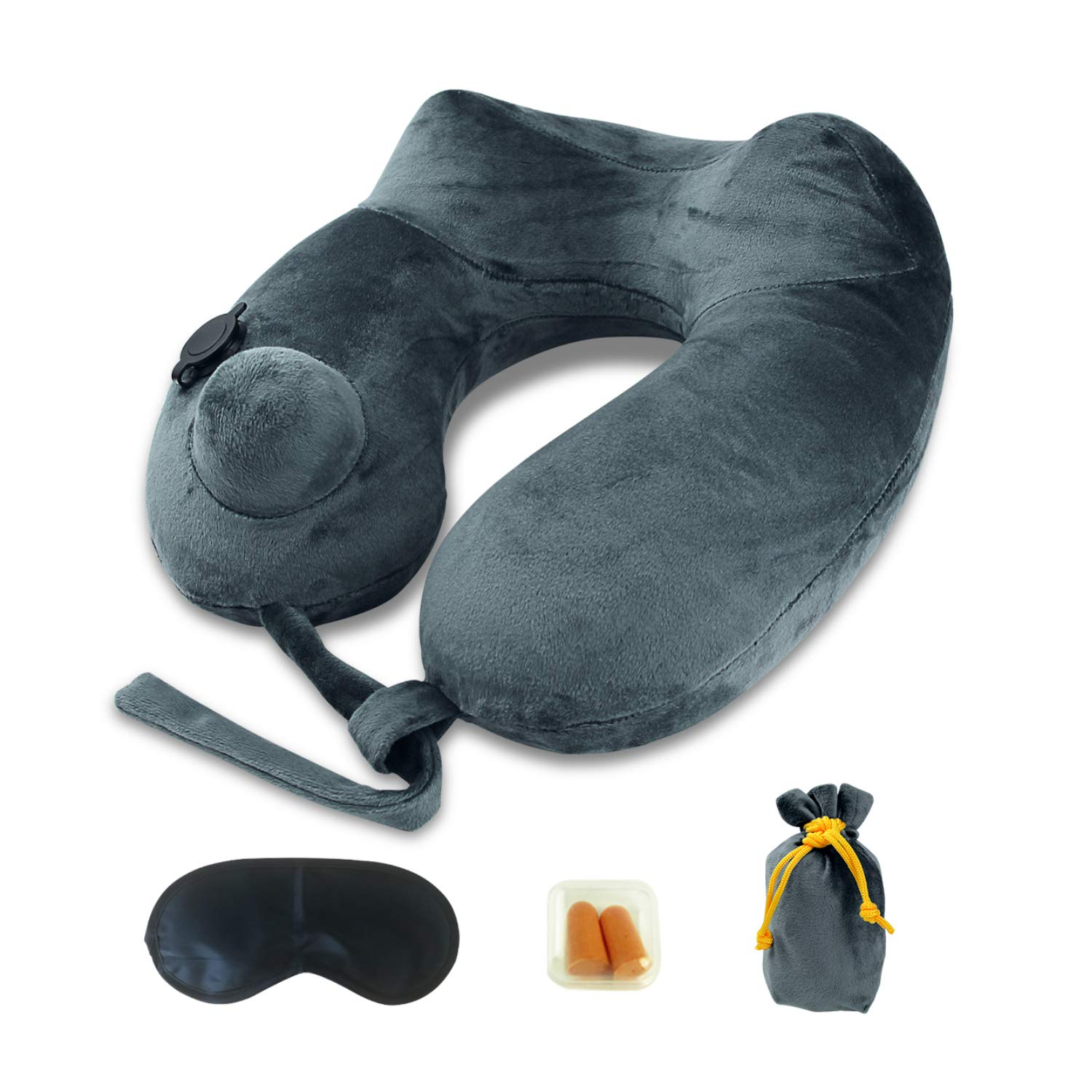 MLVOC Inflatable Travel Pillow - Breathable & Comfortable U-Shape Neck Pillow for Airplanes Travel Car - Grey
