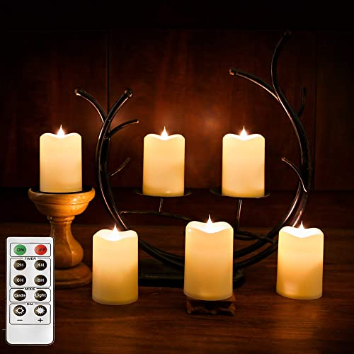 Romingo Set of 6 Water Resistant Flameless Flickering Led Candles with Timer, Battery Operated Candle with Remote Control for Indoor and Outdoor Christmas Decoration