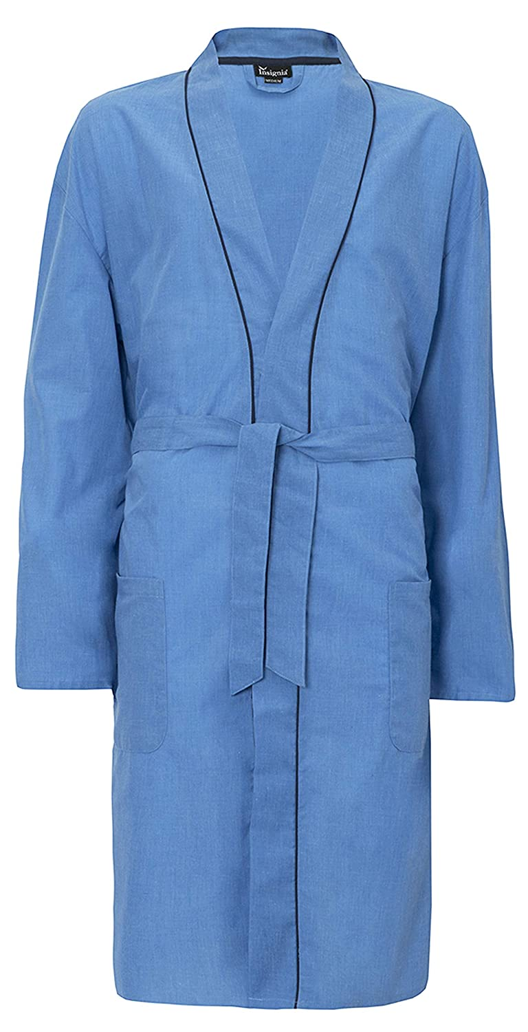 INSIGNIA Mens Plain Woven Lightweight Cotton Poly Dressing Gown Robe 31b677