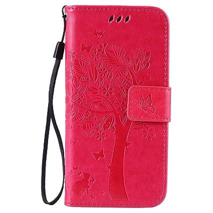 pinlu® Flip Funda de Cuero para LG G4 Stylus/G Stylo LS770 Carcasa con Función de Stent y Ranuras con Patrón de Gato y Árbol Cover (Rosa roja)