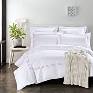 Ceruleanhome 3pc Duvet Cover Set Cotton Sateen Bright Color Embroidered Lines 350 Thread Count Percale White Background Queen King Size (King, Light Purple Embroidery-CE)