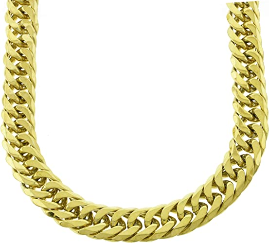 SOLID 14K YELLOW GOLD FINISH HEAVY MIAMI CUBAN TIGHT LINK CHOKER CHAIN 18MM 20/'/'