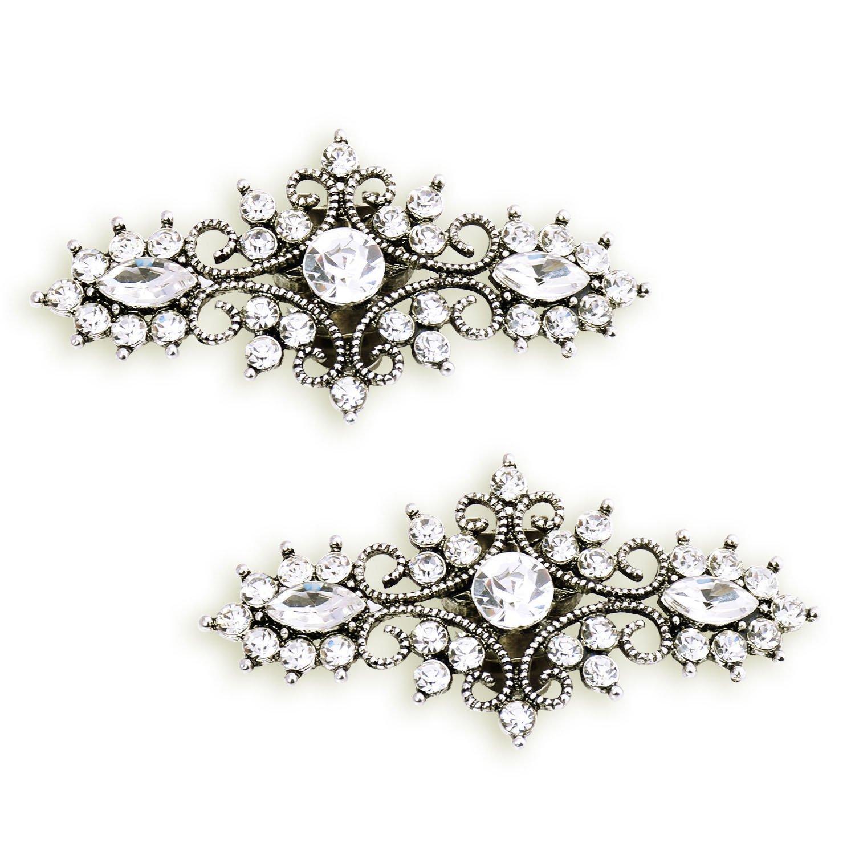 ElegantPark BH 2 Pcs Shoe Clips Leaf Design Rhinestones Wedding Party Decoration Antique Silver