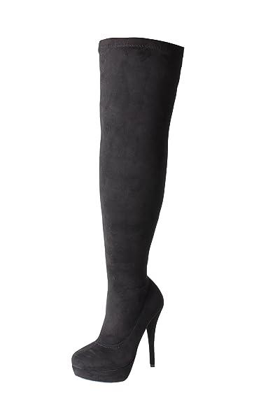 47abfbd6d0b5 Tilly London DOK136 Frauen Stilett über Das Knie Hoch Strecken Breite  Passform Schwarze Overknee Stiefel Schuhe