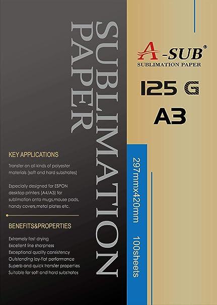 Papel de sublimación A3, 297 x 420 mm, 100 hojas, 125 g/m², compatible con todas las impresoras de inyección de tinta