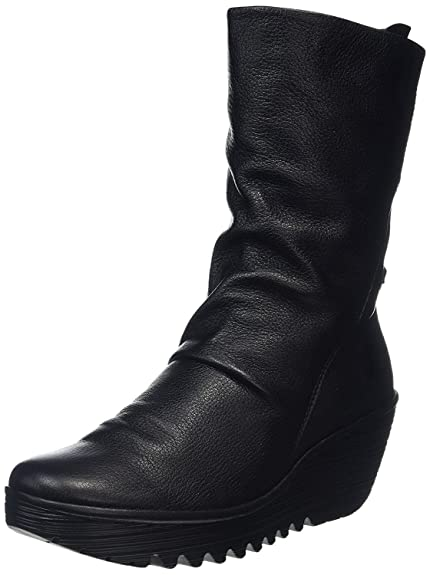 eeb2b900696 Fly London Yada Black Leather Womens Calf Wedge Boots-41: Amazon.co ...