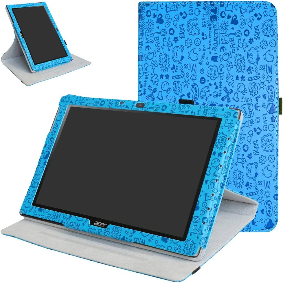 "Acer Iconia One 10 B3-A40 Rotating Case,Mama Mouth 360 Degree Rotary Stand with Cute Pattern Cover for 10.1"" Acer Iconia One 10 B3-A40 Android Tablet,Blue"