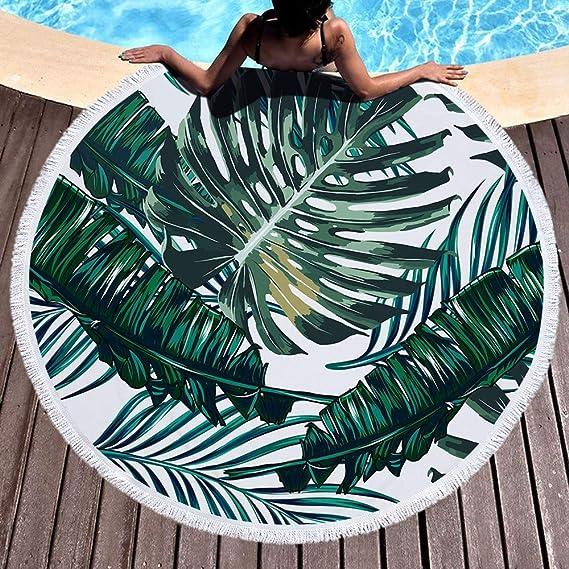 Fansu Toalla de Playa Redondo Planta Tropical, Microfibra la Playa Tapiz de Pared Manta Toalla Yoga Acampar Picnic Mantel Decoración Viaje Esterilla Wall ...