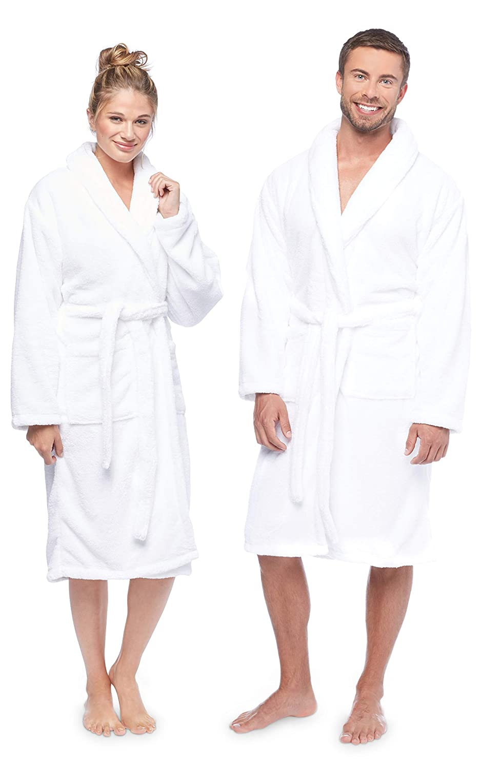 HomeLabels Luxury Bathrobe, Spa Robe Combed Terry Cotton for Men Women, White