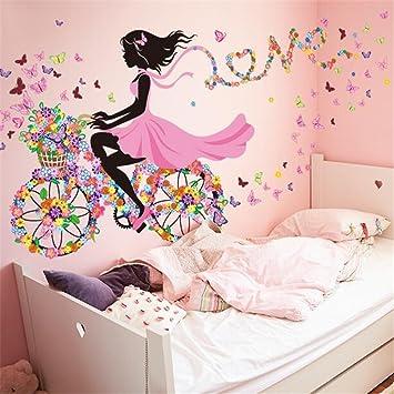 Wandaufkleber/Wandtattoo/Wandsticker CIDBEST® Kreative Romantische Fahrrad  Mädchen DIY Dekorative Wandaufkleber PVC Abnehmbare