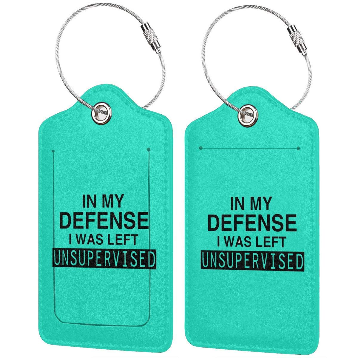 In My Defense I Was Left Unsupervised Leather Luggage Tags Suitcase Tag Travel Bag Labels With Privacy Cover For Men Women 2 Pack 4 Pack