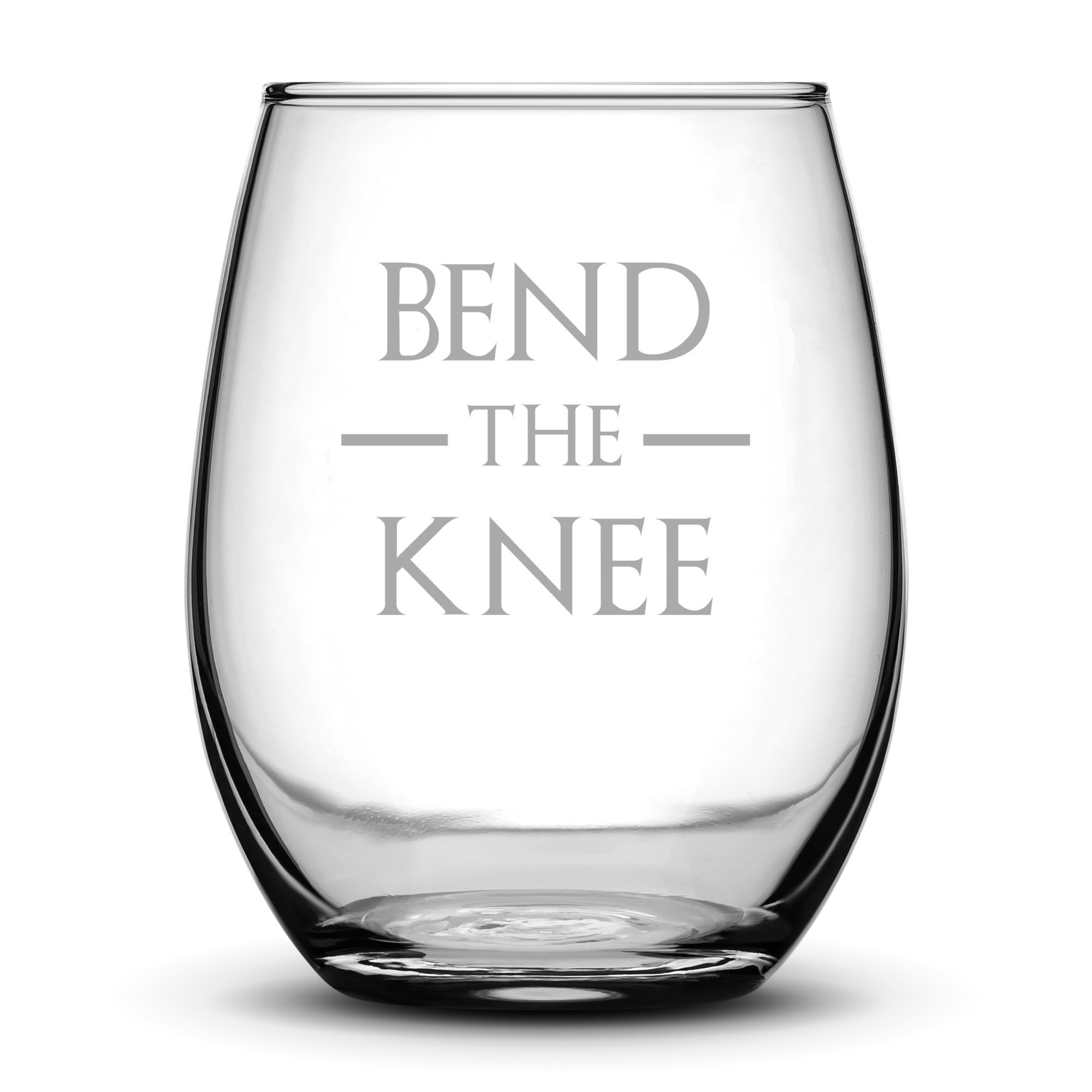 Premium Game of Thrones Wine Glass, Bend the Knee, Hand Etched 14.2 oz Stemless Gifts, Made in USA, Sand Carved by Integrity Bottles