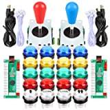 Fosiya LED Arcade Joystick Buttons Kit Ellipse Oval Style 8 Ways Joystick + 20 x LED Arcade Buttons for 2 Player Video Games Standard Controllers All Windows PC MAME Raspberry Pi (Mix Colors Kits) (Color: Mix Colors Kits)