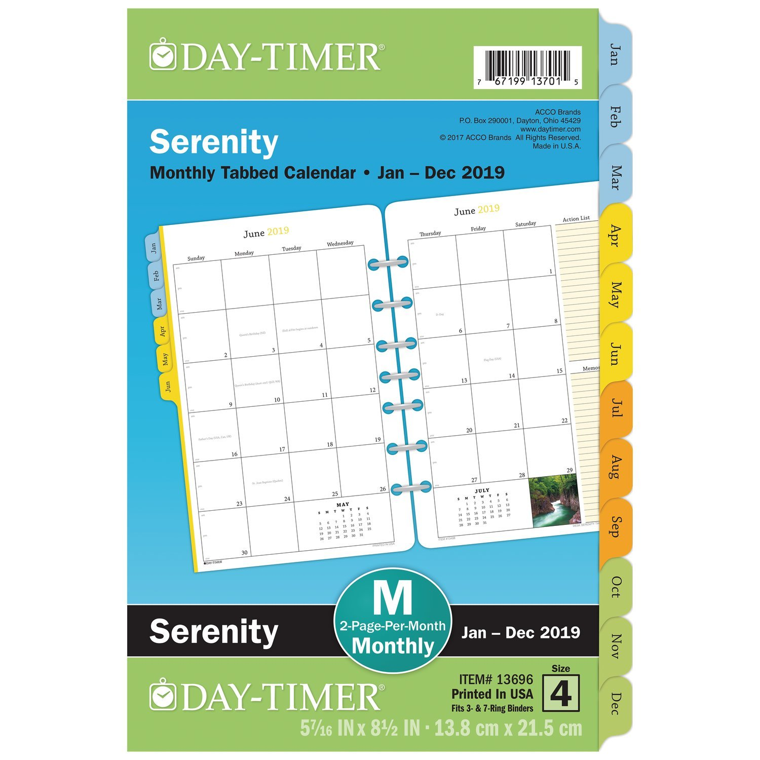 "Day-Timer 2019 Monthly Planner Refill, 5-1/2 x 8-1/2"", Desk Size 4, Loose Leaf, Two Pages Per Month, Serenity (13696) 5-1/2 x 8-1/2"" ACCO Brands 136961901"