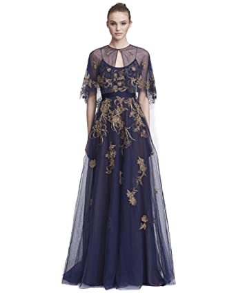 55d4d043111df6 Marchesa Notte Women s Sleeveless Embroidered Tulle Gown w Capelet 14 Navy