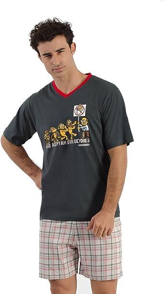 Pijama KUKUXUMUSU DE Verano Hombre NO EVOLUCIONES 5220 Talla M, 100% ALGODÓN: Amazon.es: Ropa y accesorios