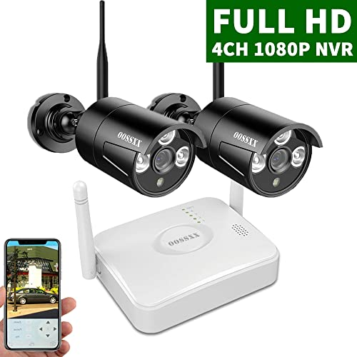2020 Update OOSSXX 4-Channel HD 1080P Wireless Mini Security Camera System,2Pcs 1080P Wireless Indoor Outdoor IR Bullet IP Cameras,P2P,App,No HDD