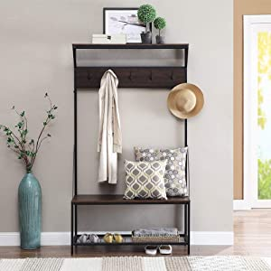 Coniffer Coat Rack Shoe Bench Metal Hall Tree Entryway Storage Organizer with Hat Umbrella Rack 5 Hooks