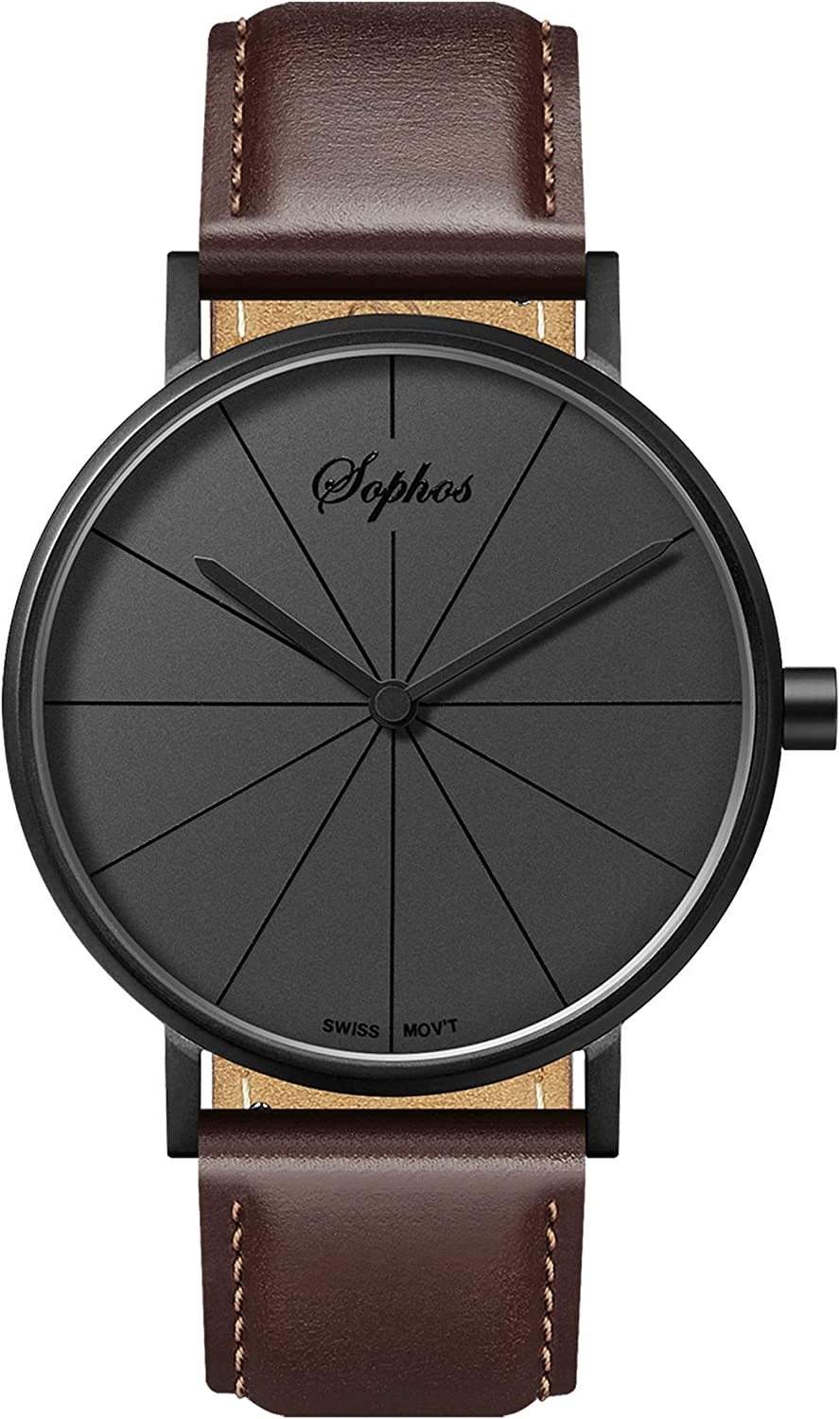 Sophos Collection Watches 41mm, Men s Minimalist Waterproof Watch Analogue Quartz Adults Watch with Genuine Leather Watch Strap