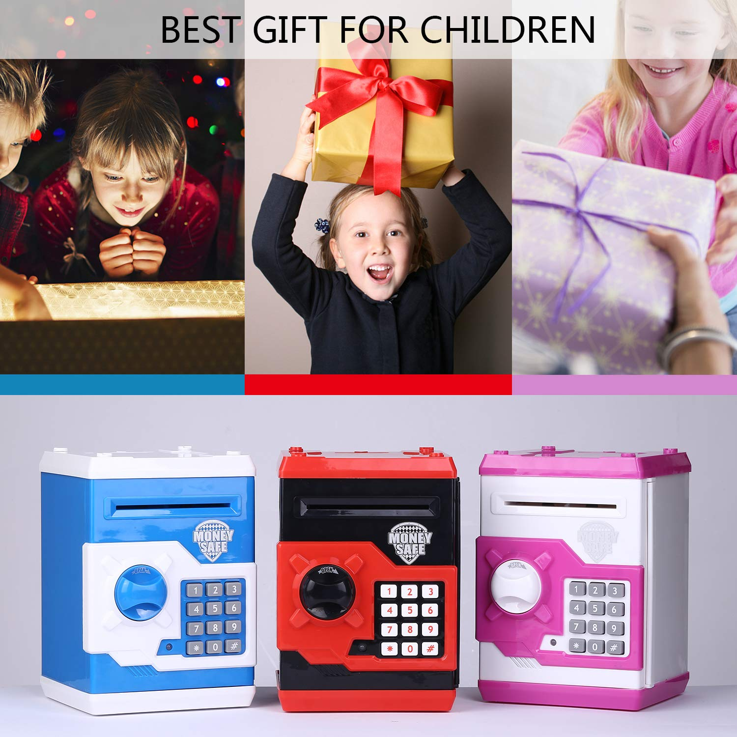 kingsida Electronic Password Piggy Bank Kids Safe Bank Mini ATM Electronic Money Save Box Cash Coin Can(Black and Red) by kingsida (Image #7)