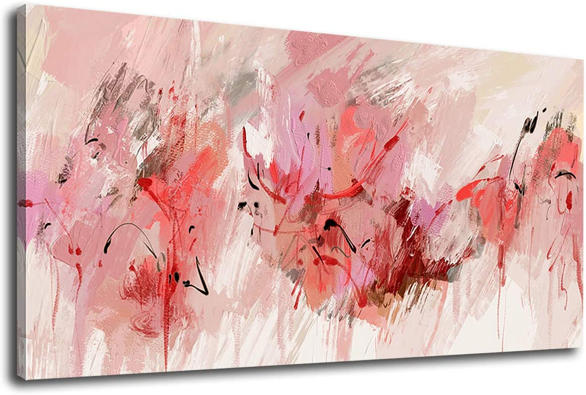 """tigeridge Abstract Wall Art Pink Modern Canvas Pictures Contemporary Canvas Artwork for Bedroom Living Room Bathroom Kitchen Office Home Wall Decor Framed Ready to Hang 20"""" x 40"""""""