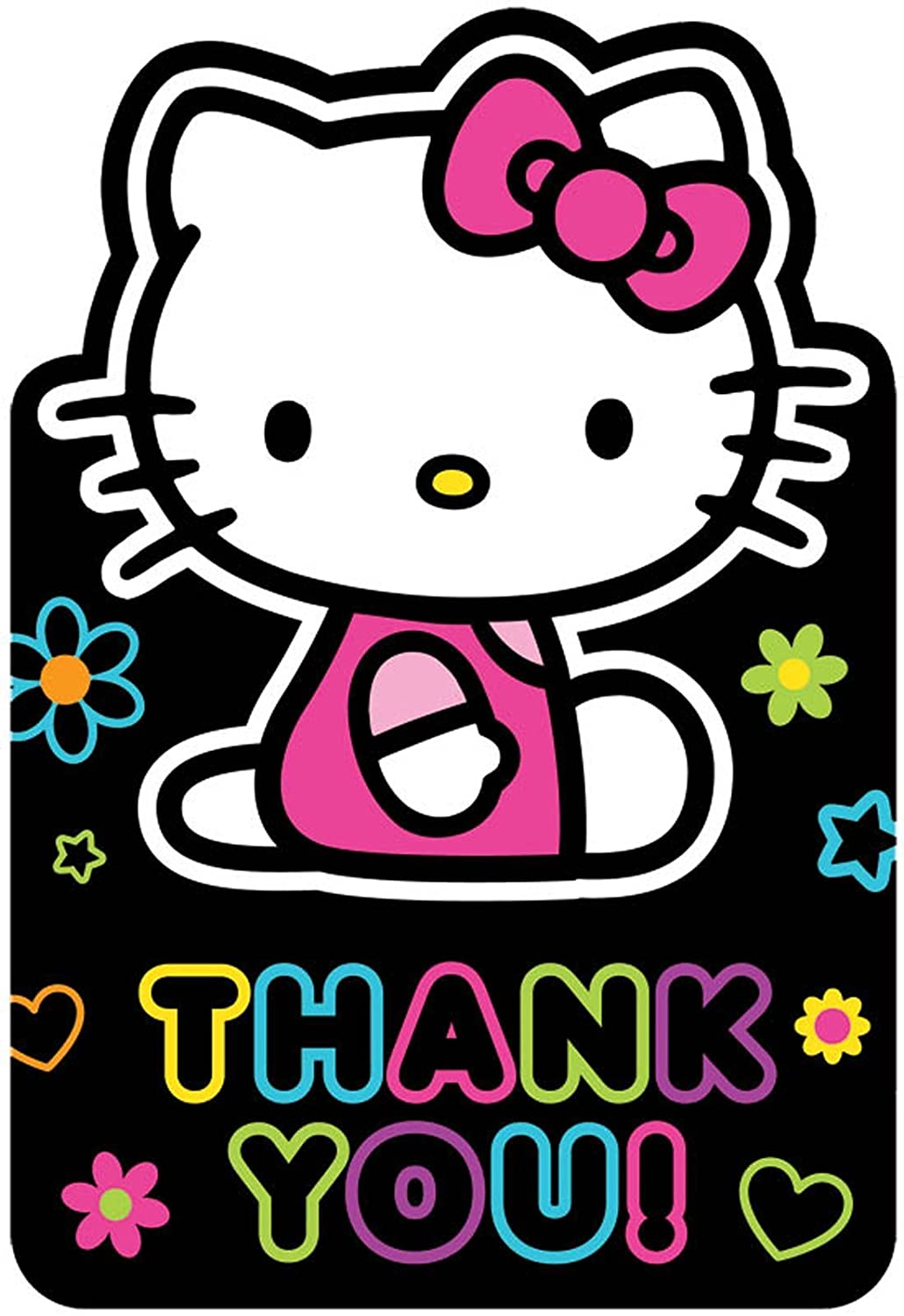 Neon Hello Kitty Thank You Notes (8 Pack) AMSCAN