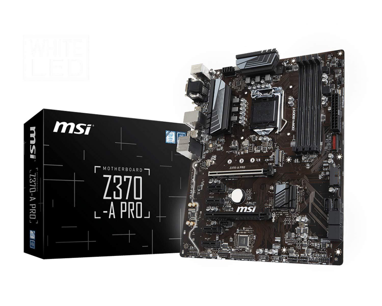 MSI PRO Series Intel 8th Gen LGA 1151 M.2 D-Sub DVI DP USB 3.0 Gigabit LAN CFX ATX Motherboard (Z370-A PRO)