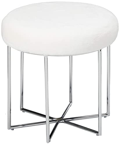 Christopher Knight Home 303683 Louise Glam Furry Ottoman Metal Legs, White Silver